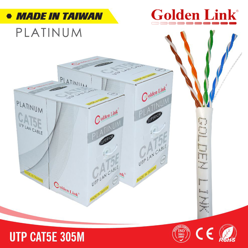 Golden Link Platinum UTP CAT 5E Made in Taiwan màu trắng