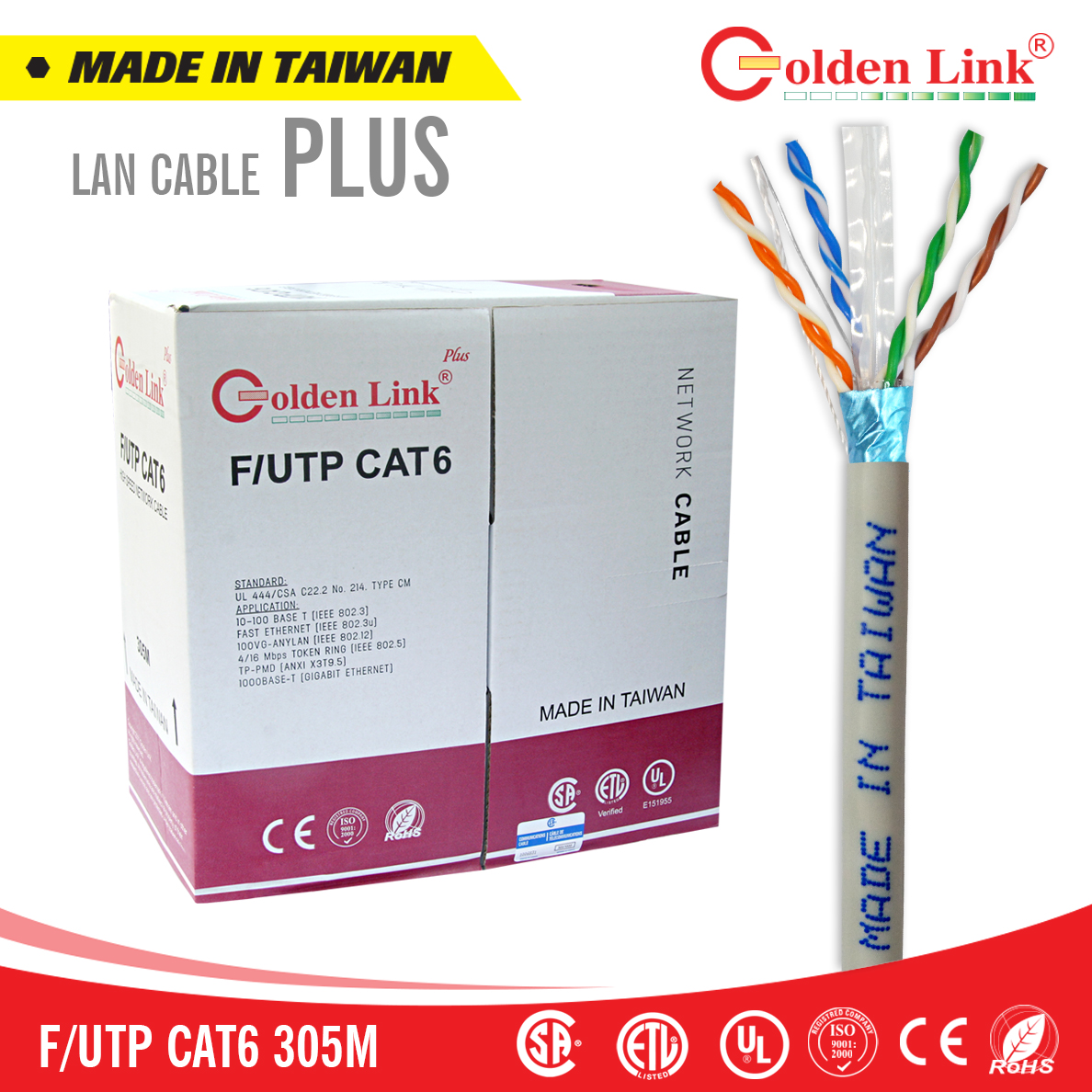 Cáp mạng CAT 6 F/UTP Golden Link Plus 305m Made in Taiwan
