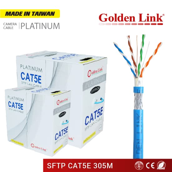 Cáp mạng Golden Link Platinum SFTP CAT 5E Made in Taiwan