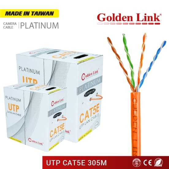 CÁP MẠNG Golden Link PLATINUM UTP CAT5E MADE IN TAIWAN MÀU CAM