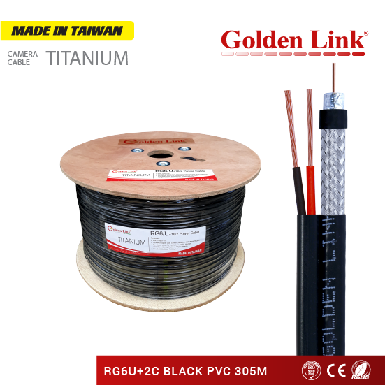 Coaxial cable, camera cable RG6/U + 2C MADE IN TAIWAN 305m