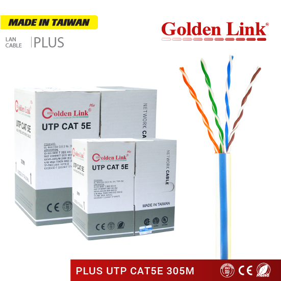 Golden Link Plus UTP CAT 5E network cable 305m Gray Made in Taiwan