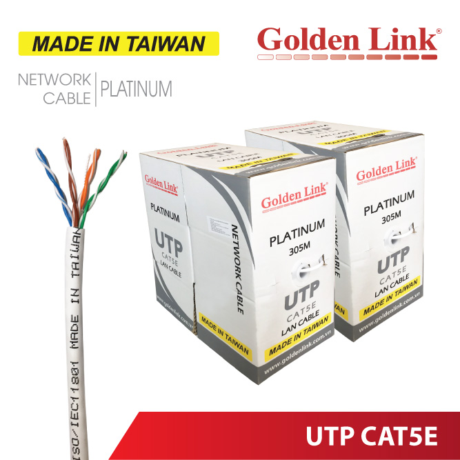 CÁP MẠNG Golden Link PLATINUM UTP CAT5E – MADE IN TAIWAN