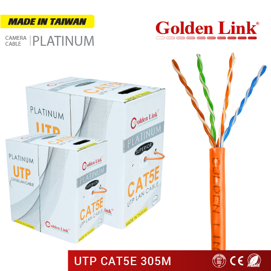 Cáp Mạng Golden Link Platinum UTP CAT 5E Made in Taiwan màu cam