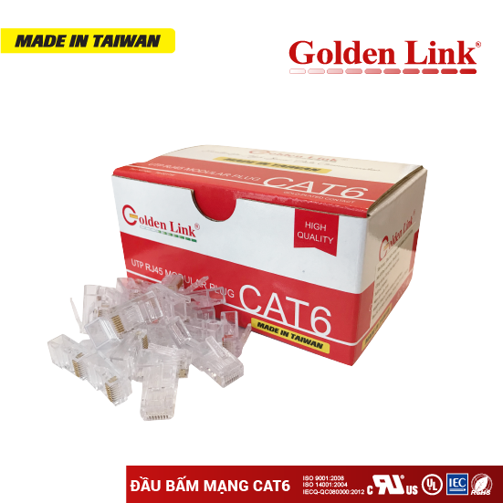 ĐẦU BẤM MẠNG Golden Link RJ45 UTP CAT6 MADE IN TAIWAN