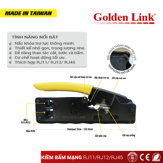 RJ45, RJ11, RJ12 Modular crimping tool Made in Taiwan