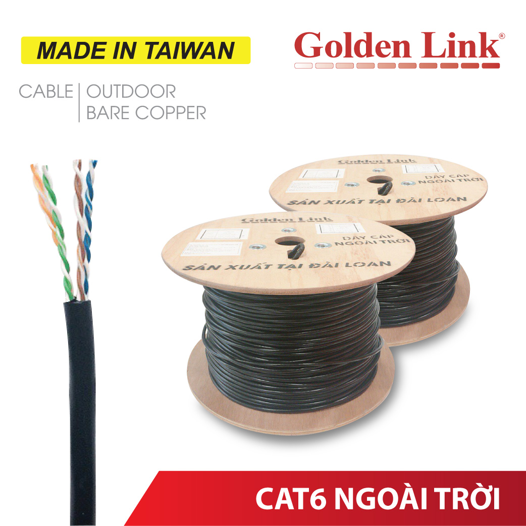 CÁP MẠNG ĐỒNG NGUYÊN CHẤT OUTDOOR GOLDEN LINK CAT6 MADE IN TAIWAN