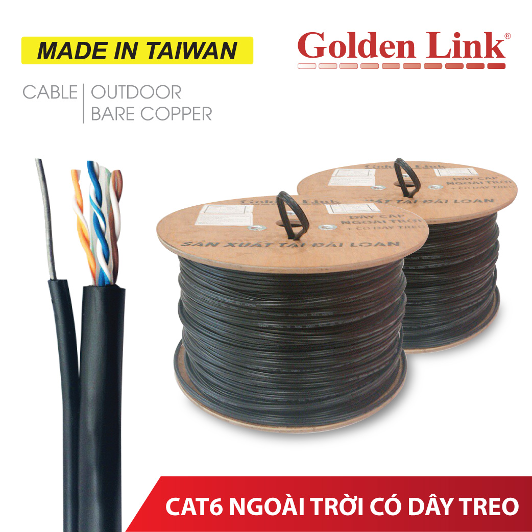 CÁP MẠNG OUTDOOR CÓ DÂY TREO GOLDEN LINK CAT6 MADE IN TAIWAN