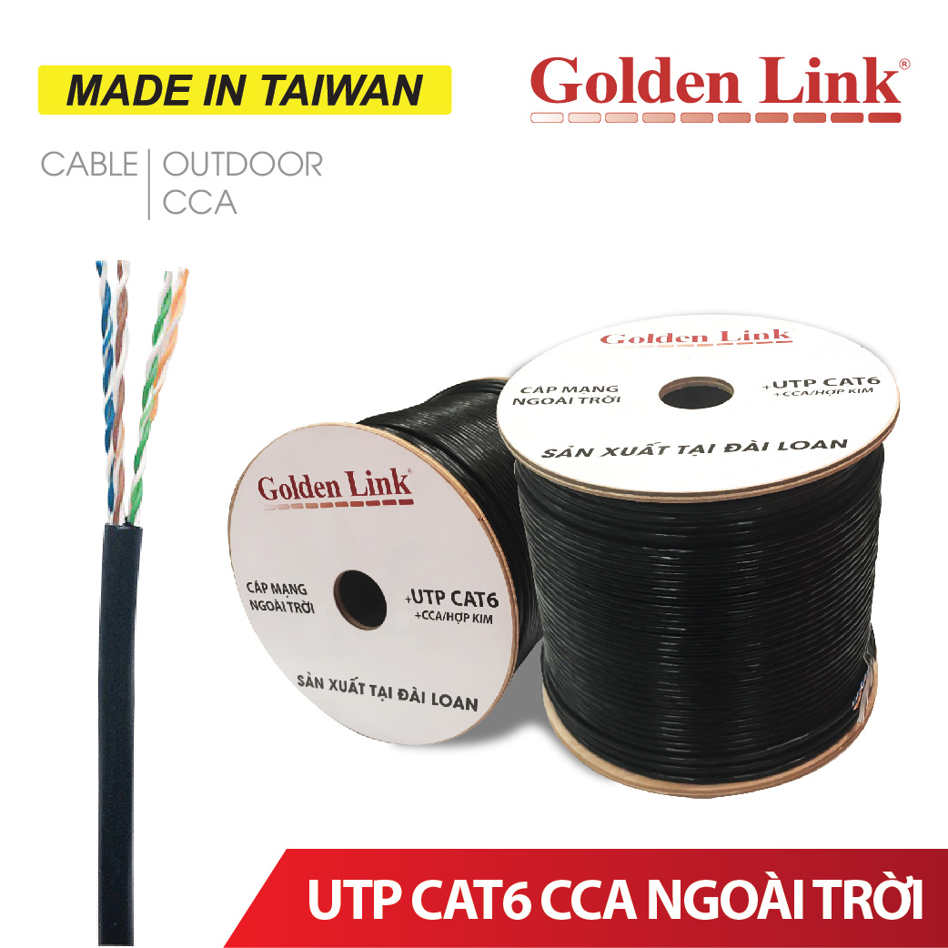 CÁP MẠNG CCA OUTDOOR GOLDEN LINK UTP CAT6 MADE IN TAIWAN