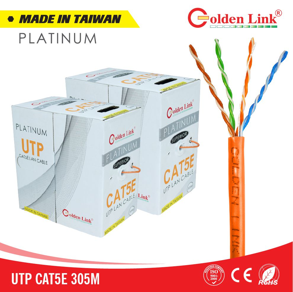 Golden Link Platinum UTP CAT 5E Made in Taiwan màu cam