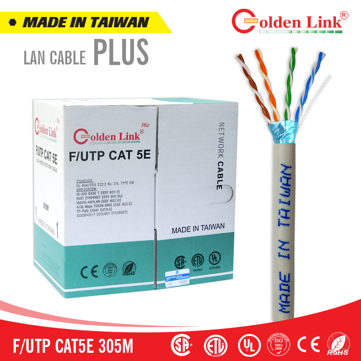 Cáp mạng Golden Link Plus F/UTP CAT 5E MADE IN TAIWAN