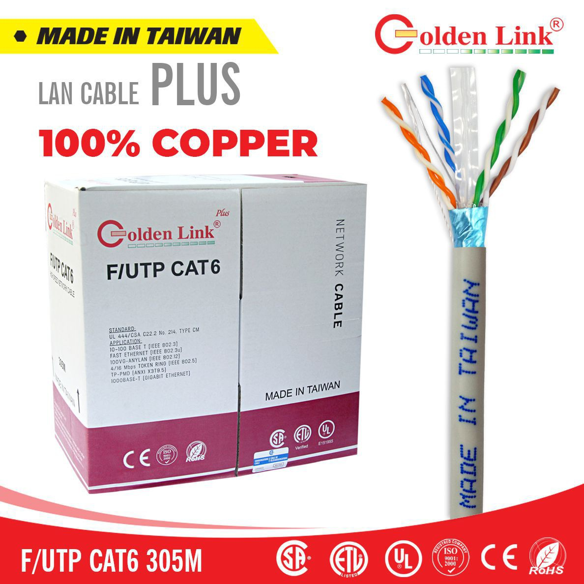 Cáp mạng Golden Link PLUS F/UTP CAT 6 MADE IN TAIWAN