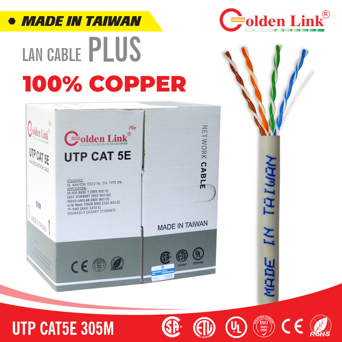 Cáp mạng Golden Link Plus UTP CAT 5E 305m Made in Taiwan